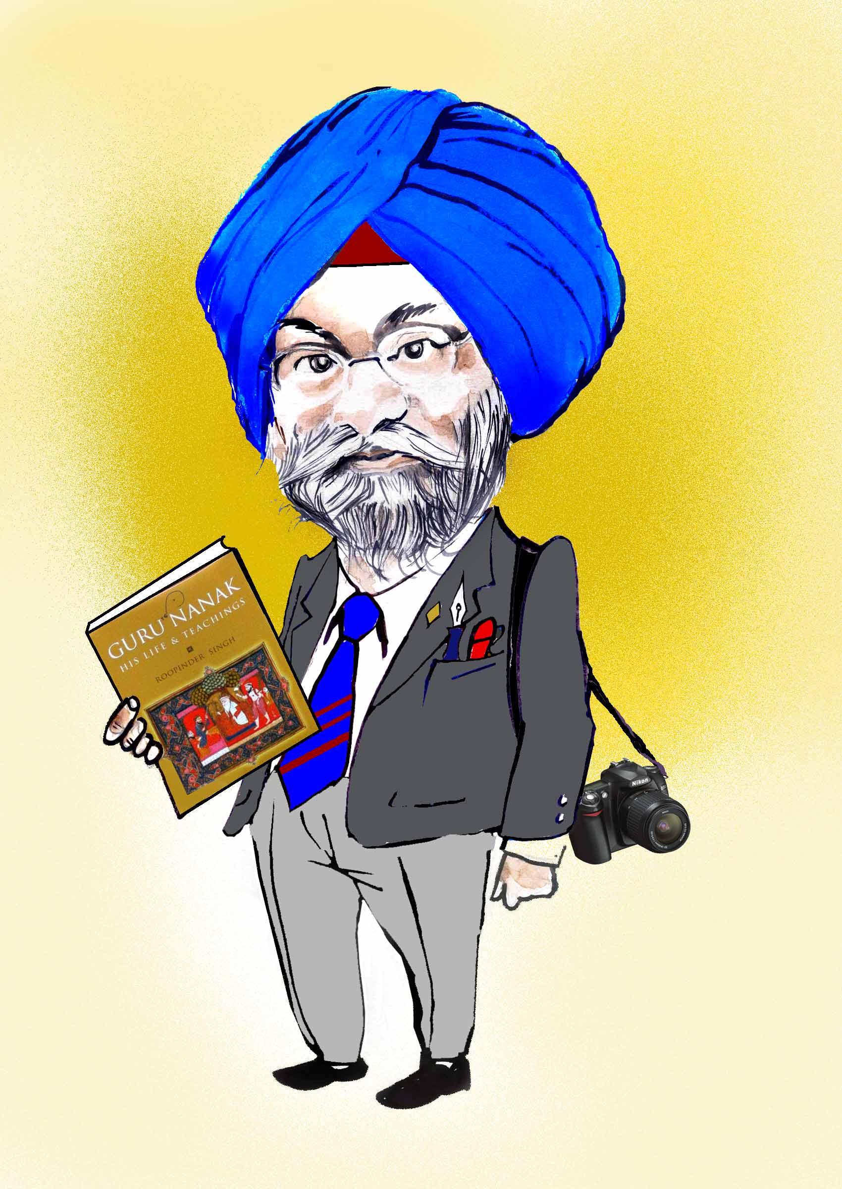 Roopinder's caricature by Sandeep Joshi