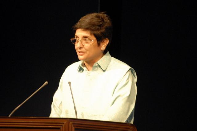 Dr Kiran Bedi addressing the Rotarians in Chandigarh.