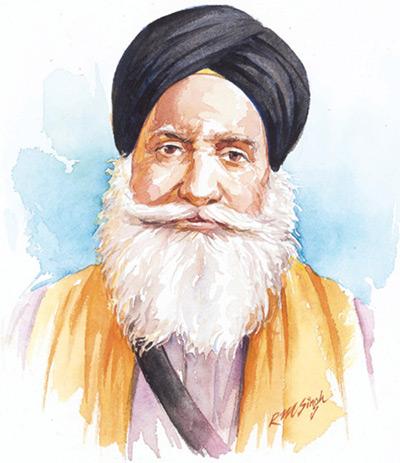 Baba Kharak Singh. Illustration by R M Singh