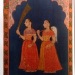 Standing in Adoration: A panel of pichhwai pata for a sacred image. Pigments on cotton. Rajasthan: Nathdwara, 19th century. Broad border with flowers and leaves on rich yellow ground