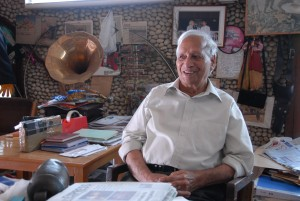 Nek Chand in his office at the Rock Garden Photo © Roopinder Singh